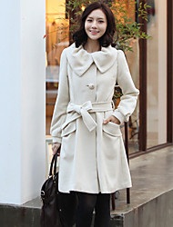 Women's Black/Gray/Yellow Coat , Casual Twill