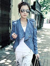 Bilunnu Women's Blue Riveted Motorcycle Jackets