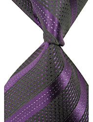 Man's Stylish Classic Stripes Woven Silk Necktie