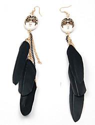 Vintage Black Mask Feather boucles d'oreille pendantes de long gland