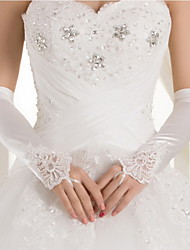 Elbow Length Fingerless Glove Satin Bridal Gloves / Party/ Evening Gloves Spring / Fall / Winter White