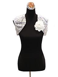 Sleeveless Tulle/Satin Evening/Wedding Wrap/Evening Jacket With Flowers & Sequins Bolero Shrug