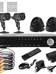 Ultra Low Price DIY 4CH D1 em tempo real H.264 DVR CCTV DVR Kit (4pcs 420TVL Night Vision Câmeras CMOS)