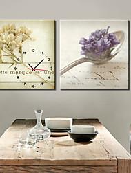 Horloge murale cuillère de style moderne en toile 2pcs
