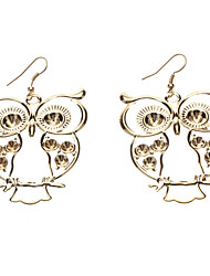 Gloden Owl métal Slice Earring