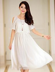 Women's Cold Shoulder Pleats Slim Waist Midi Dresses