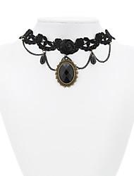 Alchemy Gothic Obsidian Black Lace classique Lolita Collier ras du cou