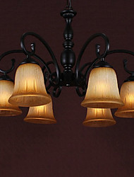 60W*6 Traditional 6 Light Down Lighting Chandelier With Curly Arm