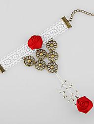 Gabinete White Lace Bracelet Anel Lolita Com Rose