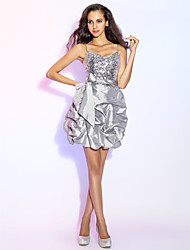TS Couture® Cocktail Party / Prom / Holiday Dress - Silver Plus Sizes / Petite A-line / Princess V-neck Short/Mini Taffeta / Sequined