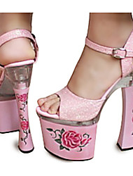 Pink Rose PU Leder 4cm Plattform 14.5cm Chunky Heel PEEPe Toe Damen Sandalen