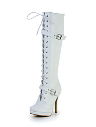Great Leatherette Stiletto Heel Knee-high Boots with Zipper Party/Evening Shoes(More Colors)