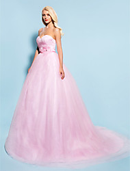Ball Gown Plus Sizes Wedding Dress - Blushing Pink Chapel Train Sweetheart Tulle