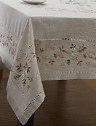 Beige Linen Rectangular Table Cloths