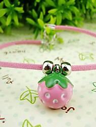 Copper Strawberry Bell Buckskin Chain Dog Necklace (Neck: 21-25cm/8.2-9.8inch)