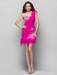 A-Line Princess One Shoulder Short / Mini Chiffon Stretch Satin Homecoming Prom Dress with Beading by TS Couture®
