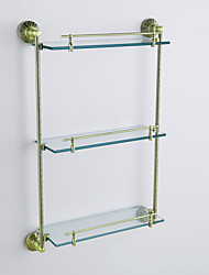 Öl eingerieben Bronze Antik-Finish 3-Tier-Regal mit satiniertem Glas