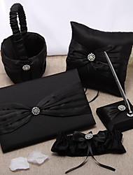 5 Collection Set Black Flower Basket / Garter / Guest Book / Pen Set / Ring Pillow
