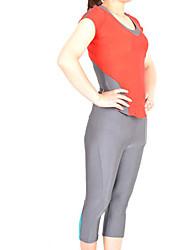 Red and Gray Spandex Nylon Exercício Suit