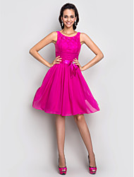 TS Couture® Cocktail Party / Homecoming / Holiday Dress - Short Plus Size / Petite A-line Scoop Knee-length Stretch Satin with Bow(s) / Crystal