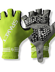 SPAKCT S13G03 Durable Polyester and Vinylal Materials Half Finger Gloves Design for Cycling Bicycle-Green