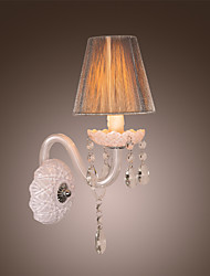 Crystal Wall Light in White Fabric Shade
