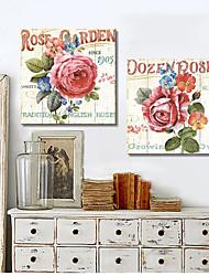 Stretched Canvas Art Floral Rose Garden Set of 2