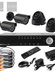 Ultra Low Price 4 Canal D1 em tempo real H.264 CCTV DVR Kit (4pcs 420TVL Night Vision Câmeras CMOS)