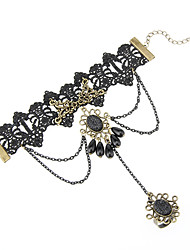Royal Black Lace Gothic Lolita Ring Bracelet With Black Jewelry
