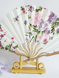 Floral Design Wave Style Hand Fan - Set of 4 (More Colors,Random Floral Patterns)
