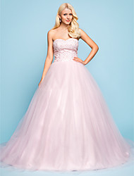 Ball Gown Plus Sizes Wedding Dress - Blushing Pink Chapel Train Sweetheart Tulle/Lace