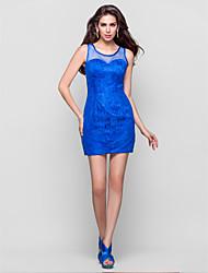 Sheath/Column Jewel Sleeveless Short/Mini Lace And Tulle Cocktail Dress