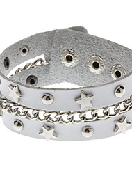 Star Chain White Metal Rivets Bracelet