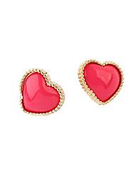 Brincos Curtos Amor Coração Estilo bonito Zircão Liga Formato de Coração Preto Vermelho Azul Jóias Para Diário
