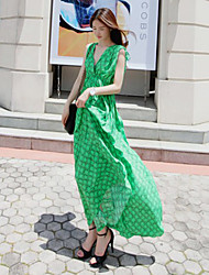 Women's Holiday Swing Dress,Print Surplice Neck Maxi Sleeveless Summer
