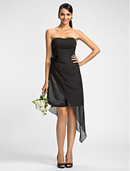 Dress - Black Sheath/Column Strapless/Sweetheart Knee-length/Asymmetrical Chiffon