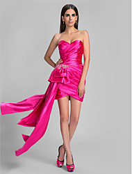 TS Couture Cocktail Party Holiday Dress - Open Back Sheath / Column Sweetheart Asymmetrical Stretch Satin withBeading Tassel(s) Criss
