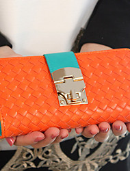 Fashion Contrast Color Hasp Long Wallet