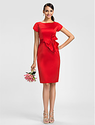 Lanting Bride® Knee-length Satin Bridesmaid Dress - Sheath / Column Jewel Plus Size / Petite with Bow(s) / Sash / Ribbon
