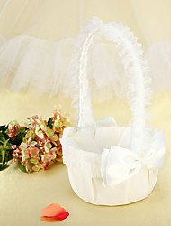 Flower Basket In Ivory Satin With Bowknot Lace Ruffles