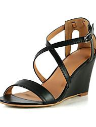 Kunstleder Keilabsatz Sandaletten mit Schnalle Freizeitschuhe (weitere Farben)
