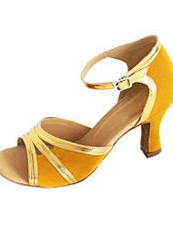 Customizable Women's Dance Shoes Latin/Ballroom Suede/Leatherette Customized Heel Gold