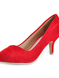 Damenschuhe - High Heels - Kleid / Büro - Leder - Stöckelabsatz - Absätze - Schwarz / Rot