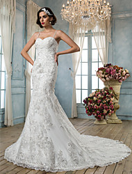 LAN TING BRIDE Trumpet / Mermaid Wedding Dress - Classic & Timeless Elegant & Luxurious Vintage Inspired Open Back Chapel TrainSpaghetti