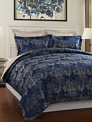 3-teiliges Modern Style Dunkelblaue Jacquard Bettbezug Set