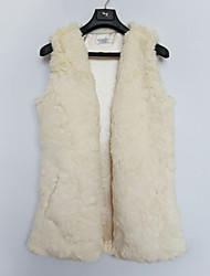 Fur Vest With Thick Sleeveless Collarless In Faux Fur Party/Casual Vest