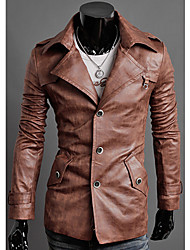 Washed Lapel Single-Breasted Pu Jacket