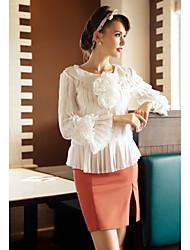 TS складки Длинная блузка рукавом
