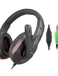 Estéreo Hi-Fi de 3,5 mm en la oreja los auriculares con micrófono y remoto CY-825 (azul, rojo)
