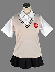 Inspired by Toaru Kagaku no Railgun Mikoto Misaka Anime Cosplay Costumes Cosplay Suits / School Uniforms Solid Beige Short SleeveVest /